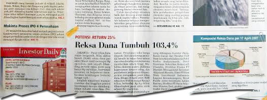 20 April 2007 – Reksa Dana Tumbuh 103,4%