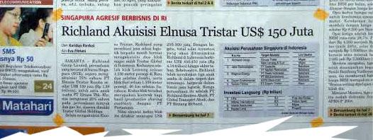 02 Mei 2008 – Richland Akusisi Elnusa Tristar US$ 150 Juta
